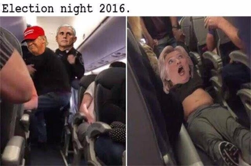 hillary dragged off plane